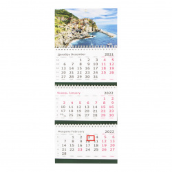Календарь 2022 настенный трехблочный, 190*470мм, на евроспирали, бегунок Средиземноморье Полином 2401-10