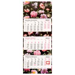 Календарь 2022 настенный трехблочный, 305*780мм, на евроспирали, бегунок Цветы на черном Полином 3144-3