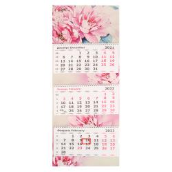 Календарь 2022 настенный трехблочный, 305*780мм, на евроспирали, бегунок Пионы Полином 3144-1