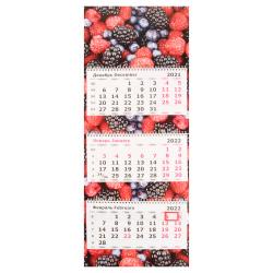 Календарь 2022 настенный трехблочный, 305*780мм, на евроспирали, бегунок Ягоды Полином 3144-5