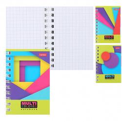 Книжка записная А7 (67*100) 40л клетка дв спир обл мягк карт Hatber Multicolored глянц лам жест подлож 40ЗК7В1гр ассорти 3 вида