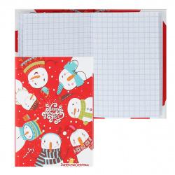 Книжка записная А7 (75*105) 48л клетка склейка тв обл 7Бц Проф-Пресс Семь снеговиков мат лам 48-4856