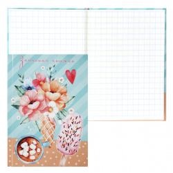 Книжка записная А7 (75*105) 48л клетка склейка тв обл 7Бц Проф-Пресс Цветы и мороженое глянц лам К48-5929