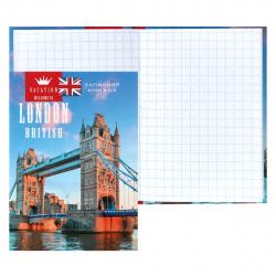 Книжка записная А7 (75*105) 64л клетка склейка тв обл 7Бц Проф-Пресс Лондонский мост глянц лам К64-5561