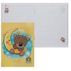 Книжка записная А6, 48л, линия, на скобе, мелованный картон Мишутка и месяц Апплика С3628-05