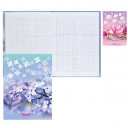 Блокнот-бизнес А6, 80л, клетка, книжный переплет, твердый картон 7Бц, ассорти 2 вида Весенний сад БиДжи ББ6т80_лм_тгф 8277