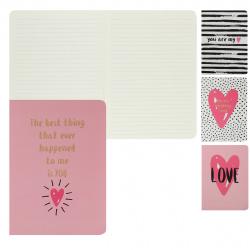 Тетрадь А5 (135*205) 32л линия обл мягк карт КОКОС Love тонир тисн 200608/2 ассорти 4 вида