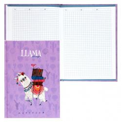 Книжка записная А5, 80л, клетка, книжный переплет, твердый картон 7Бц Лама Апплика С1056-81