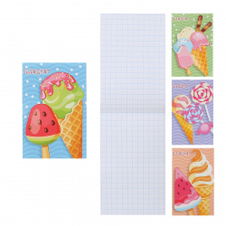 Блокнот А7, 16л, клетка, на скобе, ассорти 4 вида Мороженое и леденец Проф-Пресс Б16-0527