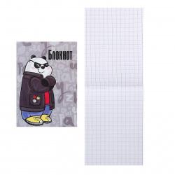 Блокнот А7 (65*100) 32л клетка скоба обл мягк карт Феникс Крутая панда 58070
