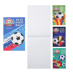 Блокнот А7 (65*100) 32л клетка скоба обл мягк карт Проф-Пресс Мир футбола Б32-6035 ассорти 4 вида