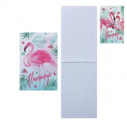 Блокнот А7 (65*100) 48л клетка склейка обл мягк карт Hatber Фламинго глянц лам 48Б7В1к ассорти
