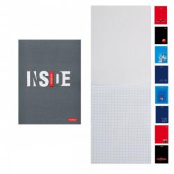 Блокнот А6 (105*145) 32л клетка скоба обл мягк карт Hatber Inside глянц лам 32Б6В1 ассорти 8 видов