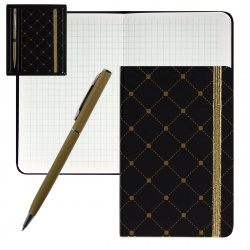 Набор подарочный 2пр Книжка зап В7 (90*140) +ручка шар Черный с золот орнам deVENTE 1100704 подар/уп