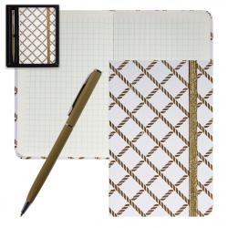Набор подарочный 2пр Книжка зап В7 (90*140) +ручка шар Белый с золотым орнамdeVENTE 1100705 подар/уп