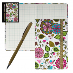 Набор подарочный 2пр Книжка зап В7 (90*140) +ручка шар Цветочный микс deVENTE 1100712 подар/уп