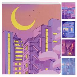 Тетрадь 48л клетка LOREX Kyoto Moonlight soft touch двойн обложка LXCBCL-KM ассорти 5 видов