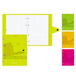 Тетрадь на кольцах А5 80л пласт обл на кнопке Neon тисн фольг 50653 ассорти 4 вида