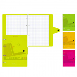 Тетрадь на кольцах А5, 80л, хлястик на кнопке, клетка, поля, ассорти 4 вида Neon Erich Krause 50653