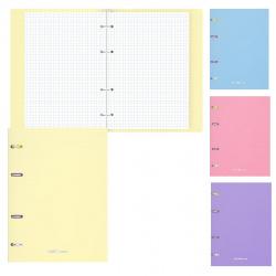 Тетрадь на кольцах А5, 80л, клетка, поля, ассорти 4 вида Pastel Erich Krause 50164