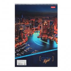 Блокнот А4 (196*297) 80л клетка спир обл мягк карт жест подлож Hatber Night City глянц лам 80Б4В1сп_12360