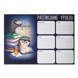 Расписание уроков 210*297мм, картон мелованный, лакирование выборочное Ежики и книжки Феникс 56828