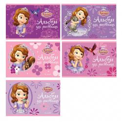 Альбом для рисования А5, 12л, на скобе, ассорти 5 видов Hatber София Прекрасная Disney 12А5В