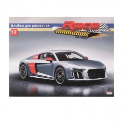 Альбом для рисования А5 (150*200) 12л на скобе обл мел картон Проф-Пресс Серый спорткар 12-5734