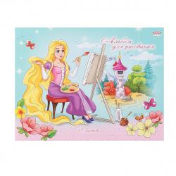 Альбом для рисования А5 (150*200) 12л на скобе обл мел картон Проф-Пресс Принцесса у холста 12-2185
