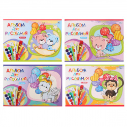 Альбом для рисования А5 (150*205) 16л на скобе обл мел картон BG Игрушки с шарами АР5ск16 7108 ассорти 4 вида