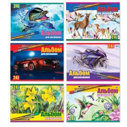 Альбом для рисования А5 (150*200) 24л на скобе обл мел картон BG Детские рисунки АР5ск24 7109 ассорти 6 видов