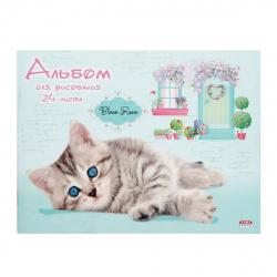 Альбом для рисования А5 (150*200) 24л на скобе обл мел картон Проф-Пресс Пушистик на голубом 24-2652