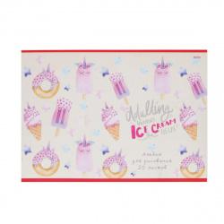 Альбом для рисования 20л на скобе обл мел картон Проф-Пресс Мороженое и пончики 20-5385