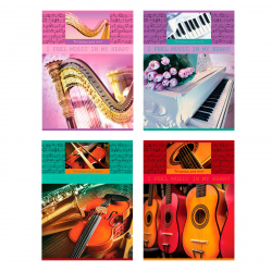 Тетрадь для нот А4 12л вертик BG Чувство музыки ТН4ск12 7780 ассорти 4 вида