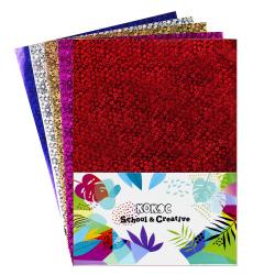 Набор цветной бумаги А4 5л 5цв самоклеющаяся голографическая в пакете КОКОС 183727