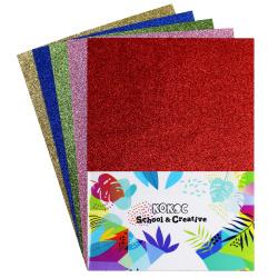 Набор цветной бумаги А4 5л 5цв с блестками в пакете КОКОС 183730