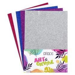 Набор цветной бумаги А4 5л 5цв с блестками в пакете КОКОС 200738