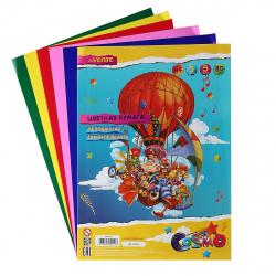 Набор цветной бумаги А4 5л 5цв мелованная самоклеящаяся в пакете deVENTE 8040501