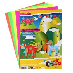 Набор цветной бумаги А4 8л 4цв мелованная флуорисцентная в пакете deVENTE 8040503