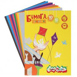 Набор цветной бумаги А4 10л 10цв немелованная в папке Каляка-Маляка БЦКМ10