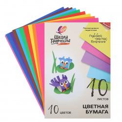 Набор цветной бумаги А4, 10л, 10 цветов, офсетная, в папке Школа творчества Луч 30С 1789-08