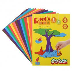 Набор цветной бумаги А4 16л 8цв немелованная двусторонняя в папке Каляка-Маляка БЦДКМ16_