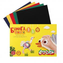 Набор цветной бархатной бумаги А5 5л 5цв самоклеящаяся в папке Каляка-Маляка ББСКМ5-1