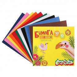 Набор цветной бархатной бумаги А5 10л 10цв в папке Каляка-Маляка ББКМ10-2