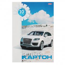 Набор белого картона А4 10л немелованный в папке Белая машина Hatber 10Кб4_05807