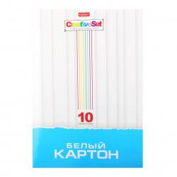 Набор белого картона А4 10л немелованный в папке Creative Set Hatber 10Кб4_05806
