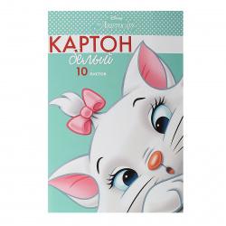 Набор белого картона А4, 10л, мелованный, в папке Кошечка Мари Hatber 10Кб4_25113