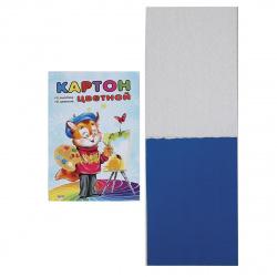 Набор цветного картона Кот-художник А5, 10л, 10 цветов, немелованный, склейка Проф-Пресс 10-1290