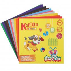 Набор цветного картона А5 (200*200мм), 10л, 10 цветов, немелованный, в папке Каляка-Маляка КЦКМ10/200