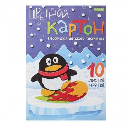 Набор цветного картона Пингвин А5, 10л, 10 цветов, немелованный, склейка Hatber 10Кц5к_16205